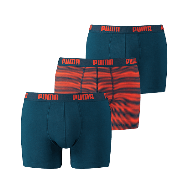 Een Dag Actie - Puma 3-Pack Printed Stripe Design Boxershorts Blue/Orange
