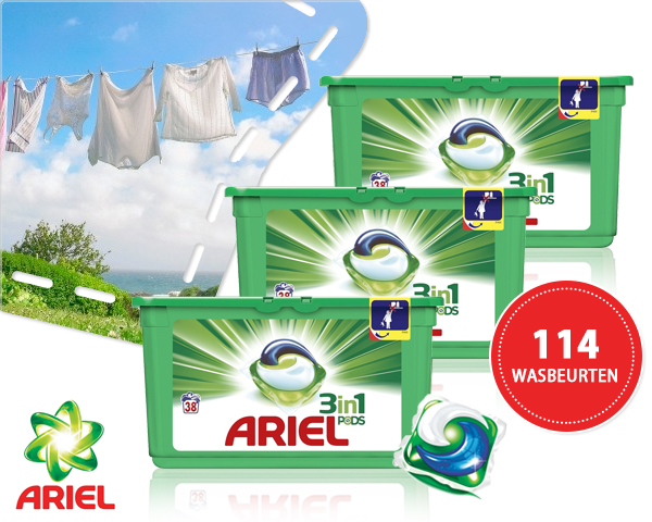 1 Day Fly - 114 Wasbeurten Ariel 3-​In-​1 Pods Color Of Regular