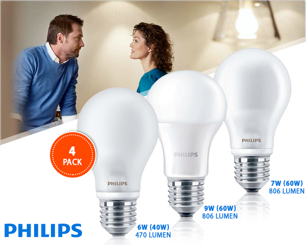 1 Day Fly - 4-​Pack Philips Matte Warmwitte E27 Peerlampen