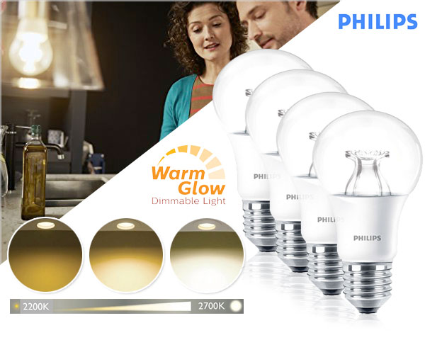 1 Day Fly - 4-​Pack Philips Warm Glow Dimbare E27 9W Led Lamp