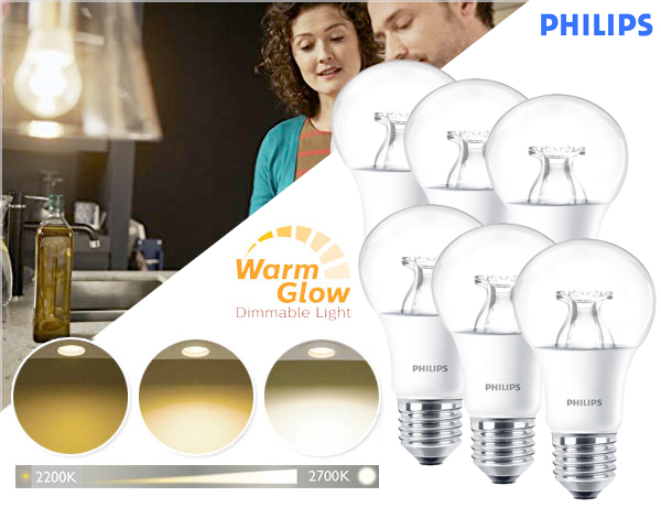 1 Day Fly - 6-​Pack Philips Warm Glow Dimbare E27 Led Lamp Helder Of Mat