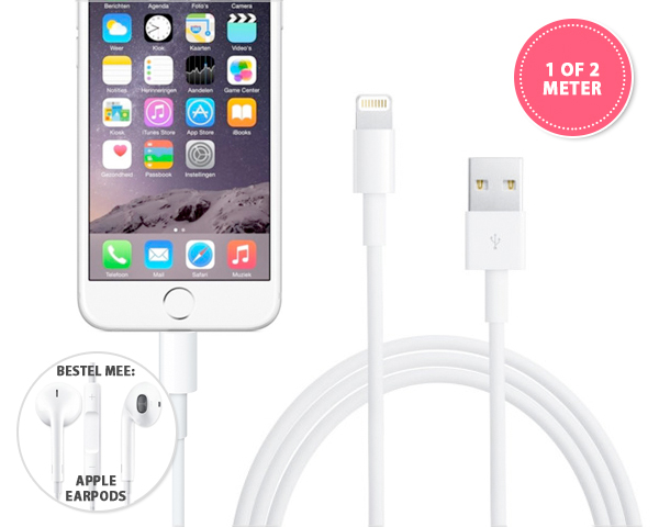 1 Day Fly - Originele Apple Lightning 1 Of 2 Meter Usb-​Kabel