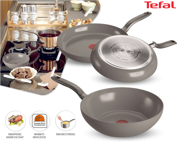 1 Day Fly Lady - 3-​Delige Tefal Ceramic Control Pannenset