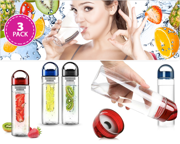 1 Day Fly Lady - 3-​Pack Fruit Infuser Waterflessen
