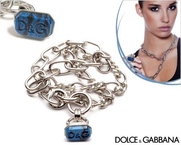 1 Day Fly Lady - Dolce & Gabbana Ketting Met Mooie Blauwe Steen