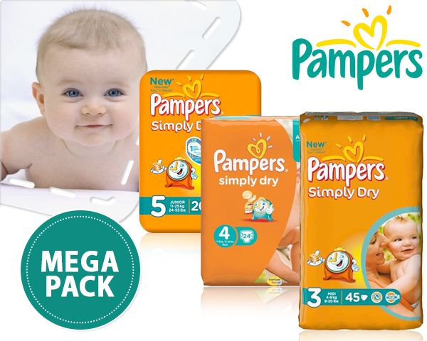 1 Day Fly Lady - Megaverpakking Pampers Simply Dry Maat 3/4/5