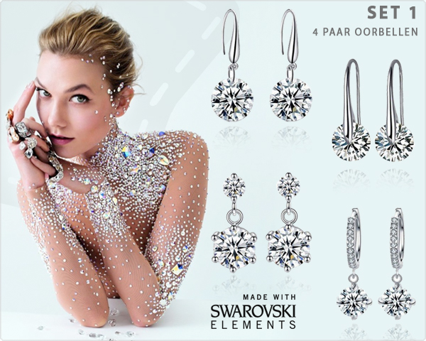 1 Day Fly Lady - Swarovski Elements Oorbellensets