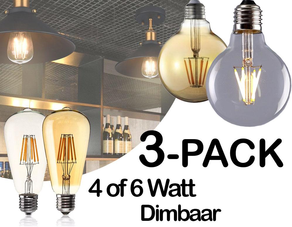 3 dimbare retro led lampen 4 modellen dagelijkse for Lampen click