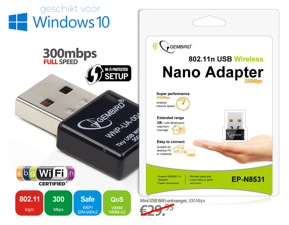 Click to Buy - 300Mbps USB WiFi Adapter (PC/Tablet etc)