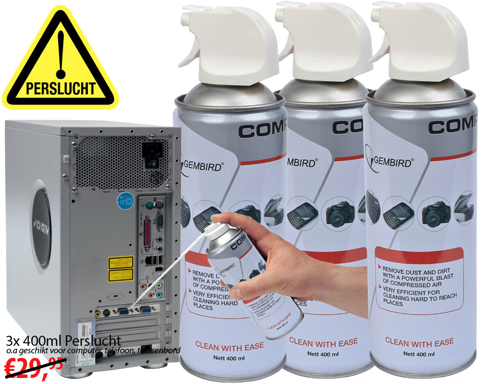 Click to Buy - 3x 400ml Perslucht Electronica Reiniger