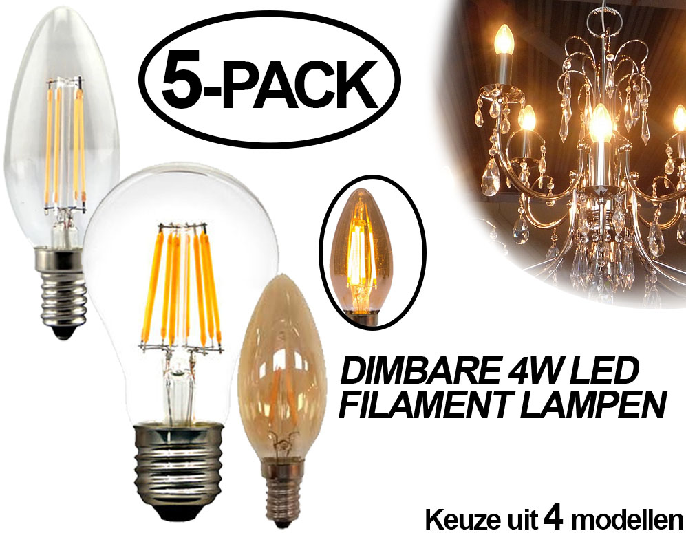 Click to Buy - 5-pack Dimbare Filament LED Lampen - 4 modellen