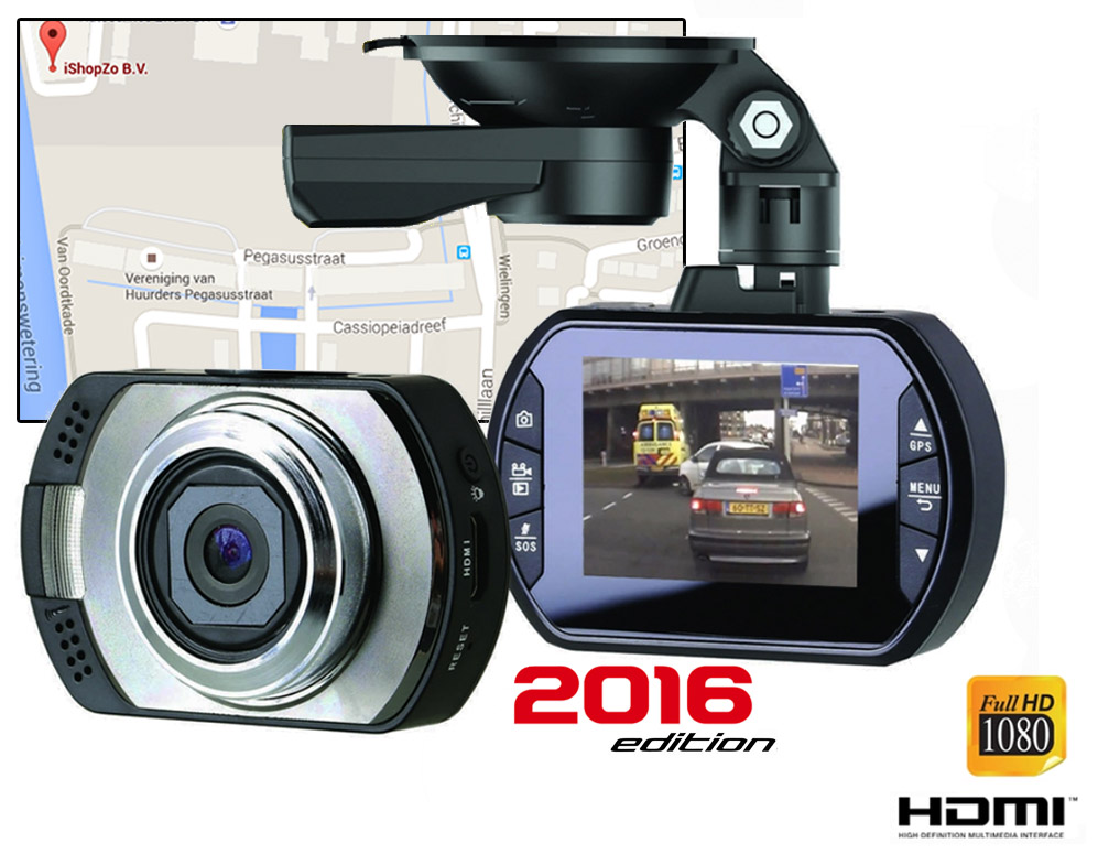Click to Buy - Professionele 1080P Dashcam  + GPS Registratie