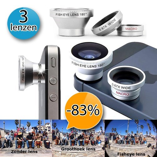 Deal Digger - 3 Lenzen Voor Je Iphone Of Android Smartphone - Fish Eye-, Groothoek- En Macrolens!