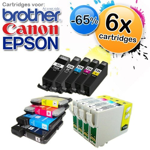 Deal Digger - 6-Pack Cartridges Voor Verschillende Type Printers Van Epson, Brother En Canon
