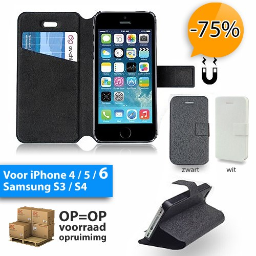 Deal Digger - Super Dunne Bookstyle Flipcase Voor Iphone 4, 5 Of 6 En Samsung S3 Of S4