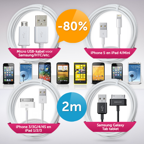 Deal Digger - Xxl Usb-Kabel Voor Iphone/Ipad/Samsung/Htc Etc.
