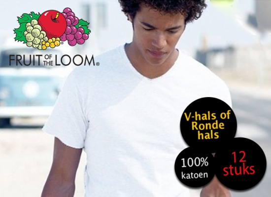 Deal Donkey - 12 Witte Fruit Of The Loom T-Shirts V-Hals Of Ronde Hals
