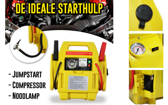 Group Actie - Jumpstarter 3-In-1 Tool : Oplader, Noodverlichting En Compressor In Één!