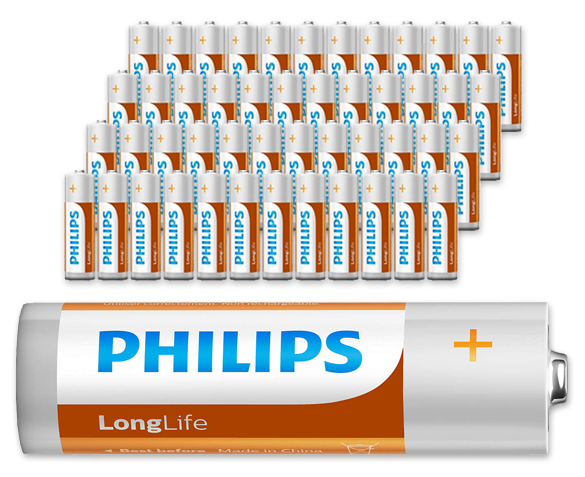 Groupdeal - 48 AA en/of AAA Philips LongLife Batterijen