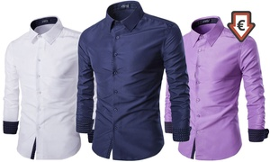 Groupon - 1 Of 2 Slim Fit Overhemden Voor Heren