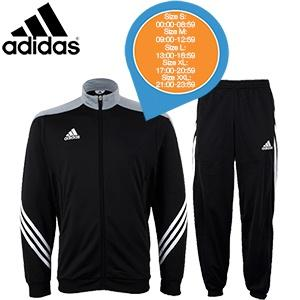 iBood Health & Beauty - Adidas Sereno14 trainingspak zwart/zilver/wit, maat XL ? online: 17:00- 20:59