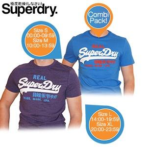 iBood Health & Beauty - Superdry Vintage Logo Tri-Colour Entry T-shirts in twee kleuren, maat L ? online: 14:00-19:59
