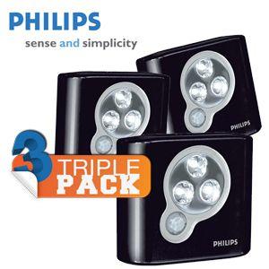 ibood triplepack philips spoton draadloze led verlichting met bewegingsmelder