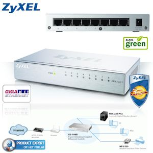 Ethernet Gigabit Cable on Zyxel Gigabit Ethernet Switch 8 Poorts  Metal Housing En Energy Saving