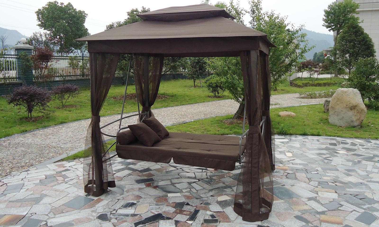 luxe bruine schommel bank met paviljoen windvanger insectennet en 4 ...