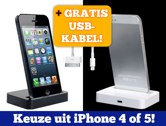Lifestyle Deal - Docking Station Voor Iphone 4 / 4S Of 5 In Zwart Of Wit + Gratis Kabel