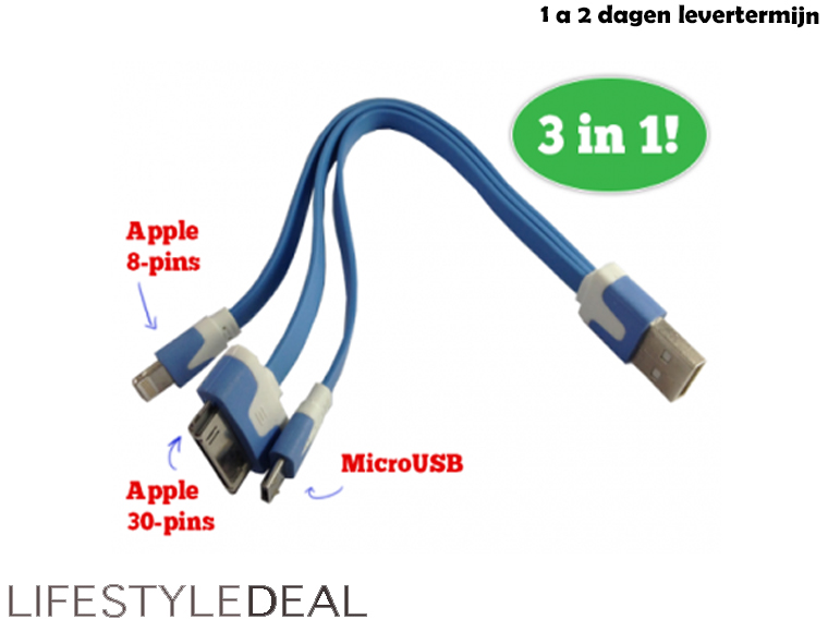 Lifestyle Deal - Handige 3-In-1 Usb - Kabel Voor Apple 8-Pins, Apple 30-Pins En Microusb