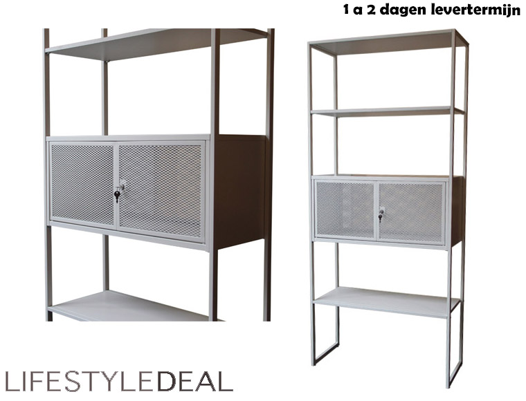Lifestyle Deal - Metalen Design Kast Met Slot; Kleur Wit.