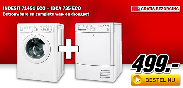Media Markt - INDESIT 71451 ECO + IDCA 735 ECO was- en droogset
