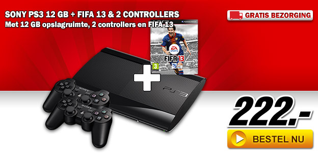 Media Markt - SONY PS3 12 GB + FIFA 13 & 2 Controllers