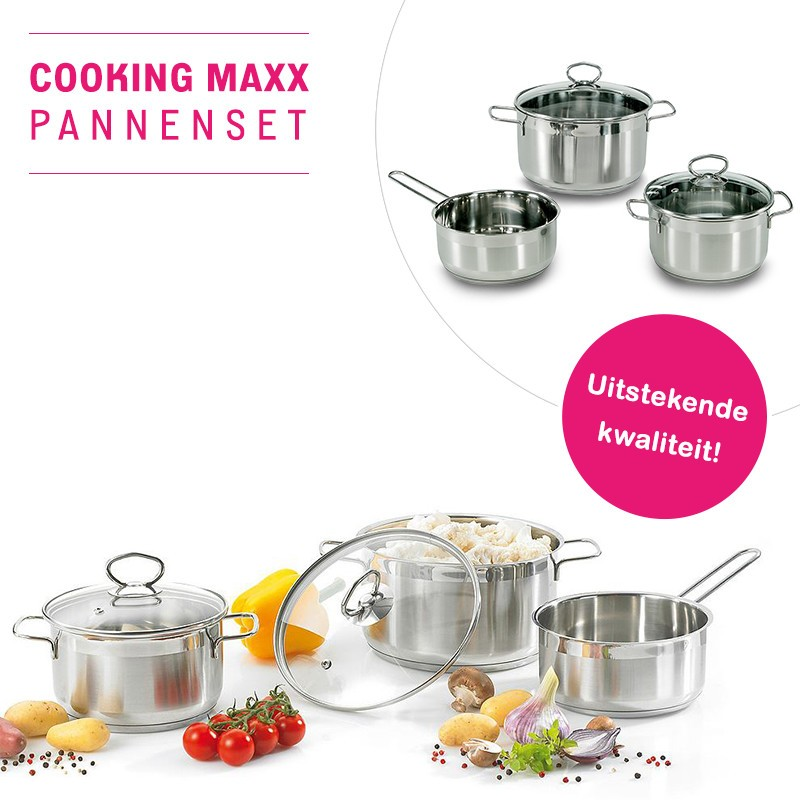 One Day For Ladies - 3 Delige pannenset van Cooking Max