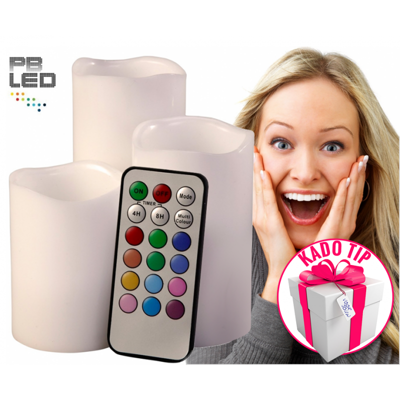One Day For Ladies - 3 Led kaarsen met afstandsbediening