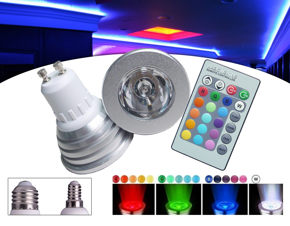 vsdeal.com - 3-Pack LED RGB Bulbs (GU10, E27 of E14)