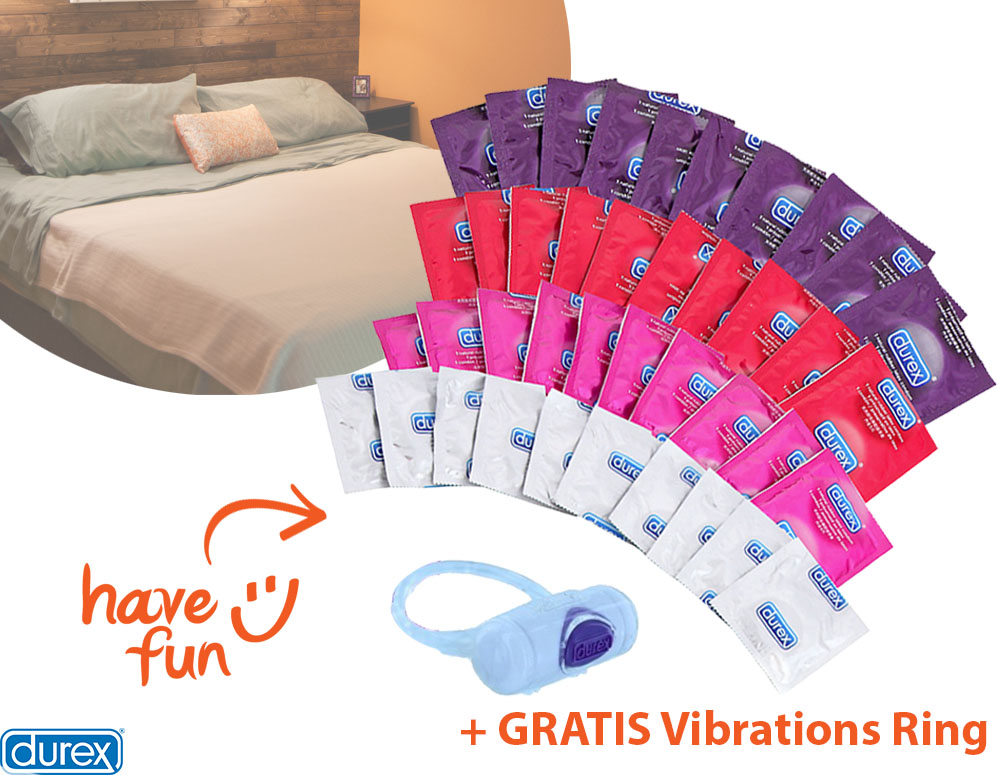 vsdeal.com - 40-delig Durex Fun Pakket met Play Vibrations Ring